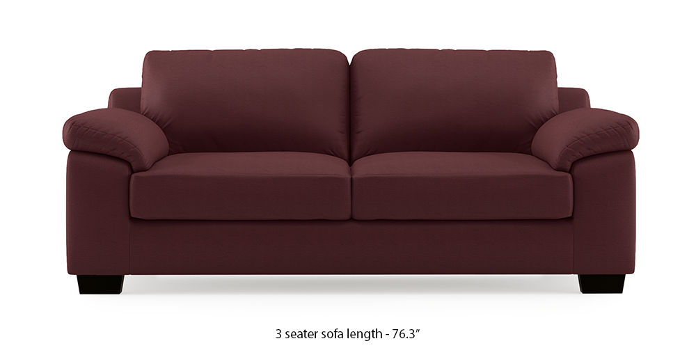 Esquel Leatherette Sofa (Burgundy) (3-seater Custom Set - Sofas, None Standard Set - Sofas, Burgundy, Leatherette Sofa Material, Regular Sofa Size, Regular Sofa Type) by Urban Ladder - - 301983