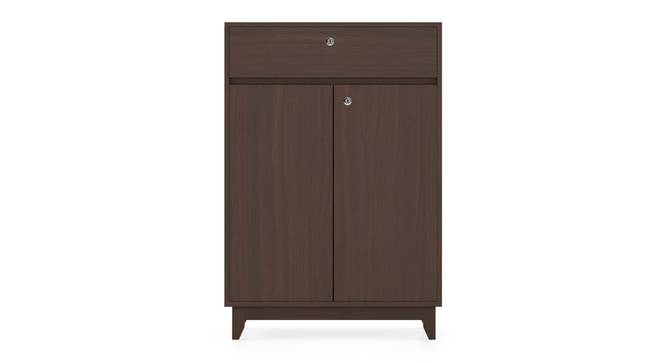 Webster Shoe Cabinet With Lock (15 Pair Capacity, Smoked Walnut Finish) by Urban Ladder - Front View Design 1 - 302095