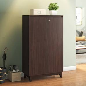 Webster Shoe Cabinet With Lock (24 Pair Capacity, Smoked Walnut Finish) by Urban Ladder - Full View Design 1 - 312042