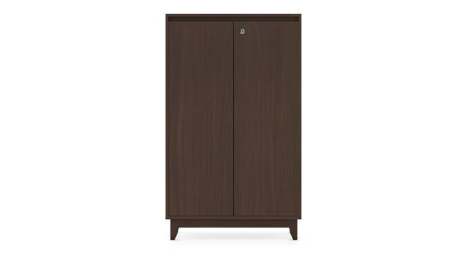Webster Shoe Cabinet With Lock (24 Pair Capacity, Smoked Walnut Finish) by Urban Ladder - Front View Design 1 - 302102