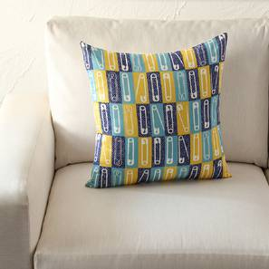 "Safetypin Cushion Cover (Blue, 41 x 41 cm  (16"" X 16"") Cushion Size) by Urban Ladder - Front View Design 1 - 302174"