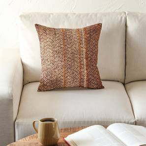 "Barley Cushion Cover (Brown, 41 x 41 cm  (16"" X 16"") Cushion Size) by Urban Ladder - Front View Design 1 - 302177"