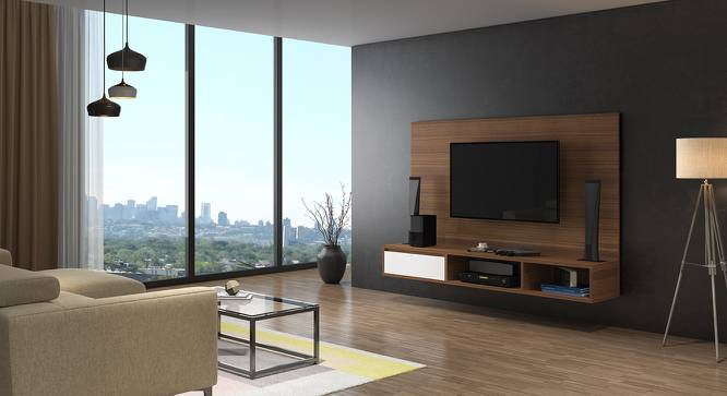 Iwaki Swivel TV Unit (Walnut Finish, Wall Mounted Unit) by Urban Ladder - Design 1 Full View - 302231