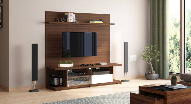 Iwaki Swivel TV Unit (Walnut Finish, Floor Standing Unit) by Urban Ladder - Design 1 Full View - 302253
