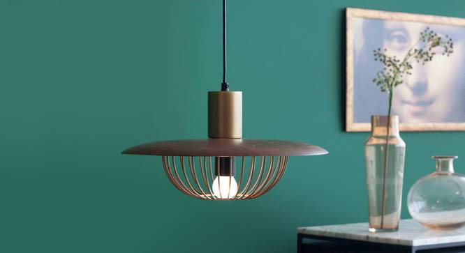 Minya Hanging Lamp (Walnut Finish, Dome Shape) by Urban Ladder - Design 1 Full View - 302330
