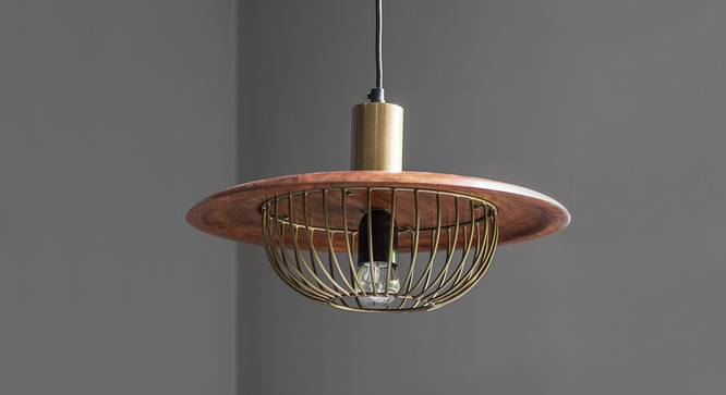 Minya Hanging Lamp (Walnut Finish, Dome Shape) by Urban Ladder - Front View Design 1 - 302331