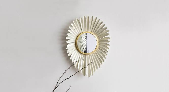Falcon Wall Mirror (Ivory Finish) by Urban Ladder - Half View -