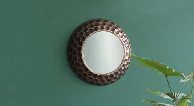 Honeycomb Wall Mirror (Antique Brass Finish, Round Shape) by Urban Ladder - Design 1 Half View - 302582