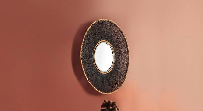 Kyoto Mesh Wall Mirror (Black Finish, Round Shape) by Urban Ladder - Half View -