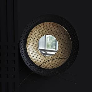 Louvre Wall Mirror (Black Finish, Round Shape) by Urban Ladder - Design 1 Half View - 302600
