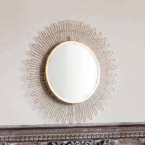 Marina Wall Mirror (Gold Finish, Round Shape) by Urban Ladder - Design 1 Half View - 302618