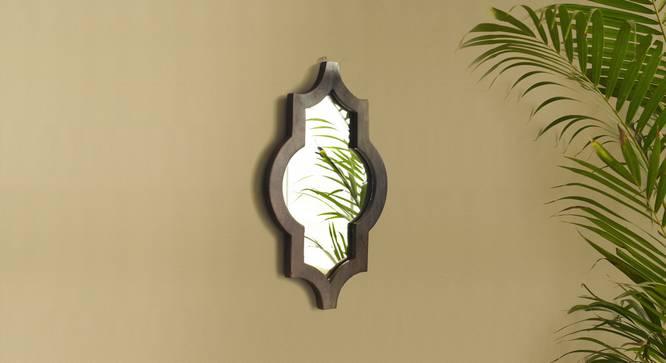 Ramon Wall Mirror (Dark Walnut Finish, Hexagon Shape) by Urban Ladder - Design 1 Half View - 302628