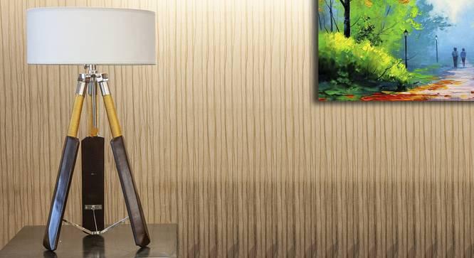 Cricket Tripod Lamp (Brown, White Shade Colour, Cotton Shade Material) by Urban Ladder - Design 1 Half View - 302634
