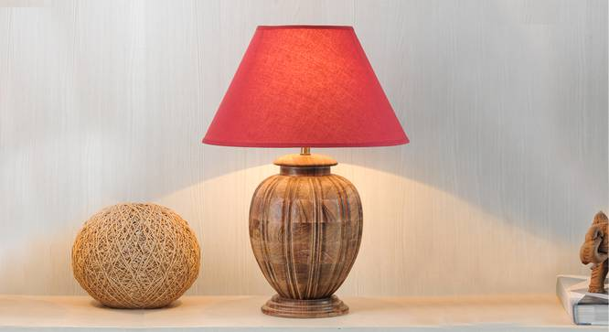 Ariana Table Lamp (Natural, Cotton Shade Material, Maroon Shade Colour) by Urban Ladder - Design 1 Half View - 302708