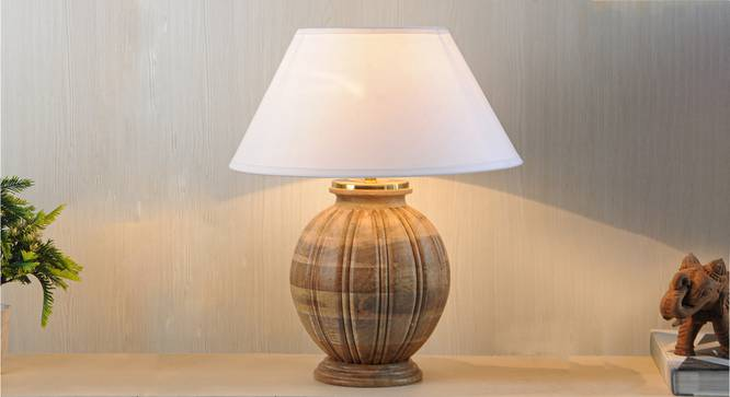 Astros Table Lamp (Natural, White Shade Colour, Cotton Shade Material) by Urban Ladder - Design 1 Half View - 302753