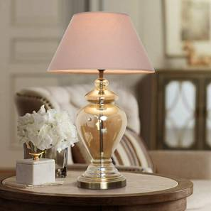Berna Table Lamp (Cotton Shade Material, Beige Shade Colour, Champagne) by Urban Ladder - Design 1 Half View - 302806