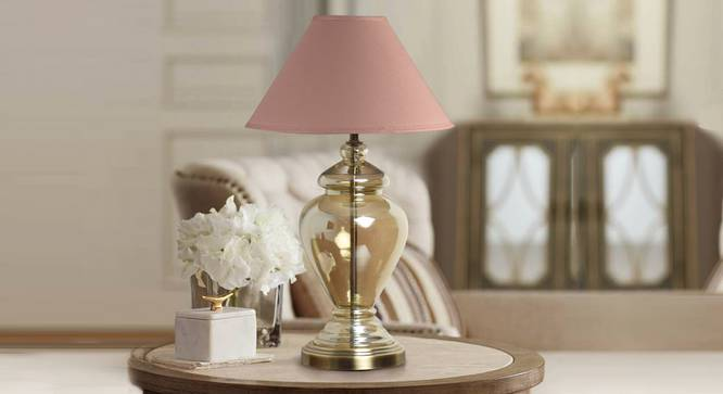 Berna Table Lamp (Cotton Shade Material, Beige Shade Colour, Champagne) by Urban Ladder - Design 1 Semi Side View - 302807