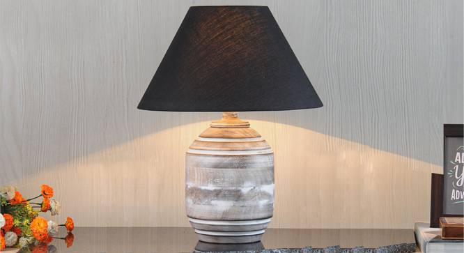 Bradbury Table Lamp (Black Shade Colour, Cotton Shade Material, White - Distressed Finish) by Urban Ladder - Design 1 Half View - 302816