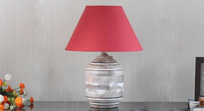 Bradbury Table Lamp (Cotton Shade Material, White - Distressed Finish, Maroon Shade Colour) by Urban Ladder - Design 1 Semi Side View - 302822
