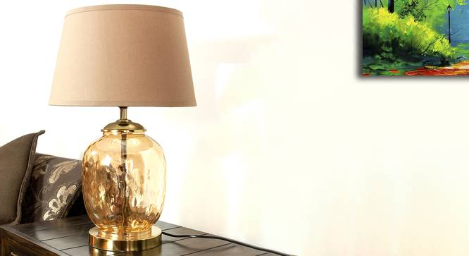 Cardiff Table Lamp (Amber, Cotton Shade Material, Beige Shade Colour) by Urban Ladder - Design 1 Semi Side View - 302842