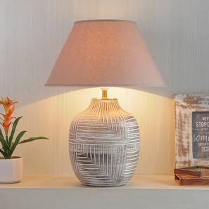 Cumberland Table Lamp (Cotton Shade Material, White - Distressed Finish, Beige Shade Colour) by Urban Ladder - Design 1 Half View - 302893