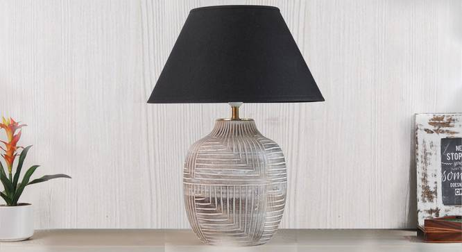 Cumberland Table Lamp (Black Shade Colour, Cotton Shade Material, White - Distressed Finish) by Urban Ladder - Design 1 Semi Side View - 302900