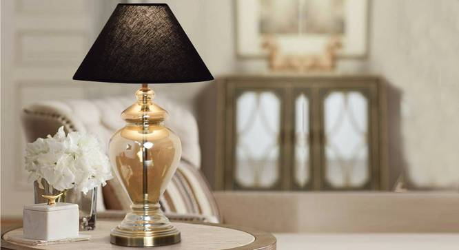 Zelda Table Lamp (Black Shade Colour, Cotton Shade Material, Champagne) by Urban Ladder - Design 1 Half View - 302929