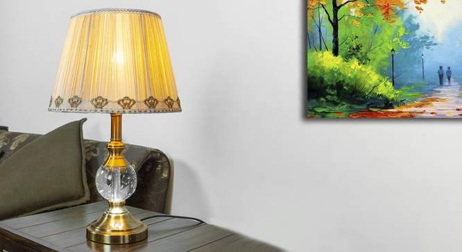 Zedd Table Lamp (Brass, White Shade Colour, Silk Shade Material) by Urban Ladder - Design 1 Half View - 302936