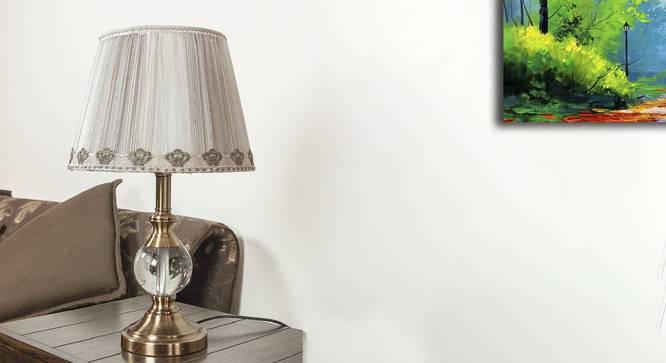 Zedd Table Lamp (Brass, White Shade Colour, Silk Shade Material) by Urban Ladder - Design 1 Semi Side View - 302937