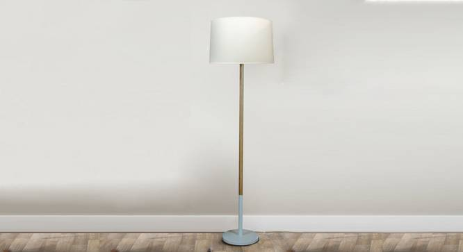 Unicorn Floor Lamp (White, White Shade Colour, Cotton Shade Material) by Urban Ladder - Design 1 Semi Side View - 302992