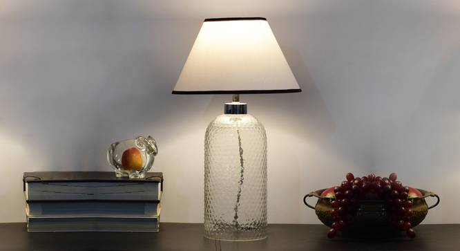 Tesco Table Lamp (Clear Finish, White Shade Colour, Cotton Shade Material) by Urban Ladder - Design 1 Half View - 303035
