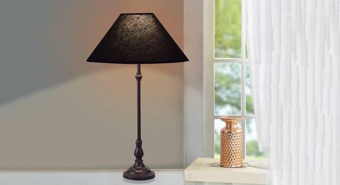 Stella Table Lamp (Black, Black Shade Colour, Cotton Shade Material) by Urban Ladder - Design 1 Half View - 303060