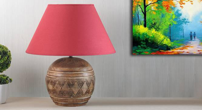Mountwill Table Lamp (Natural, Cotton Shade Material, Maroon Shade Colour) by Urban Ladder - Design 1 Semi Side View - 303080