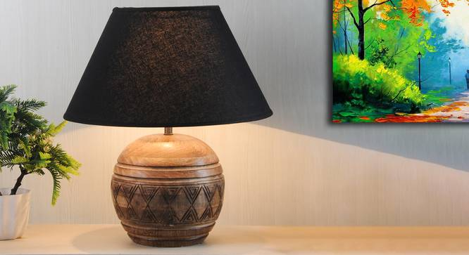 Mountwill Table Lamp (Natural, Black Shade Colour, Cotton Shade Material) by Urban Ladder - Design 1 Half View - 303091