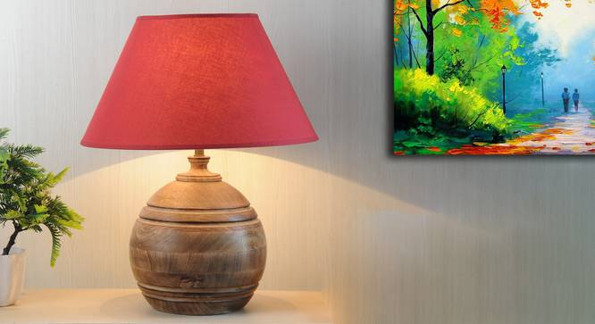 Joshaphus Table Lamp (Natural, Cotton Shade Material, Maroon Shade Colour) by Urban Ladder - Design 1 Half View - 303109