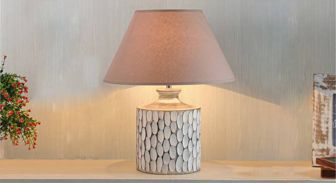 Garlen Table Lamp (Cotton Shade Material, White - Distressed Finish, Beige Shade Colour) by Urban Ladder - Design 1 Half View - 303133