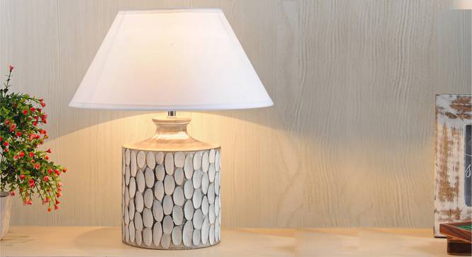 Garlen Table Lamp (White Shade Colour, Cotton Shade Material, White - Distressed Finish) by Urban Ladder - Design 1 Half View - 303143