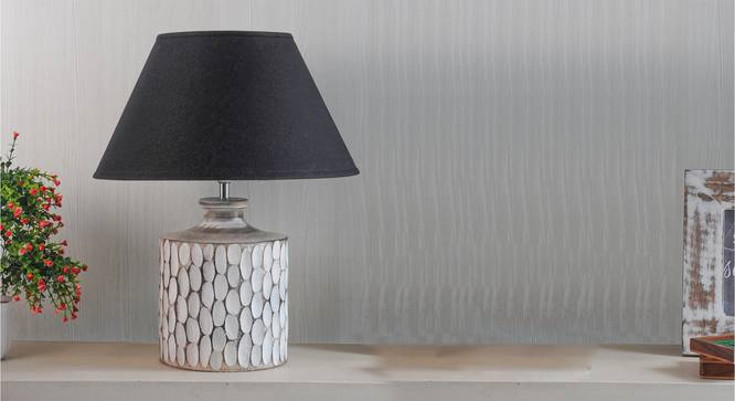 Garlen Table Lamp (Black Shade Colour, Cotton Shade Material, White - Distressed Finish) by Urban Ladder - Semi Side View -