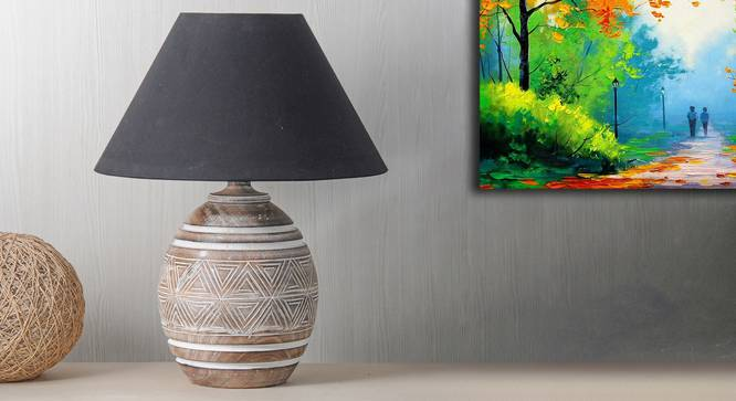 Lavery Table Lamp (Black Shade Colour, Cotton Shade Material, White - Distressed Finish) by Urban Ladder - Design 1 Semi Side View - 303154
