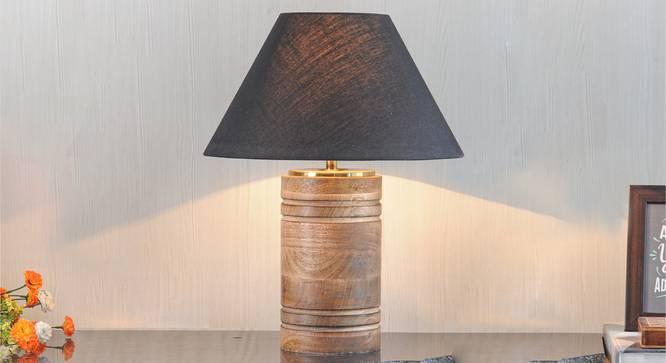 Manderley Table Lamp (Natural, Black Shade Colour, Cotton Shade Material) by Urban Ladder - Design 1 Half View - 303180