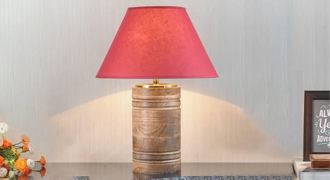Manderley Table Lamp (Natural, Cotton Shade Material, Maroon Shade Colour) by Urban Ladder - Design 1 Half View - 303186