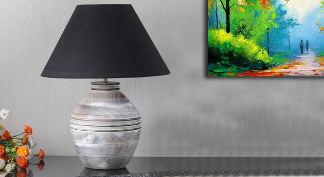 Harmony Table Lamp (Black Shade Colour, Cotton Shade Material, White - Distressed Finish) by Urban Ladder - Design 1 Semi Side View - 303237