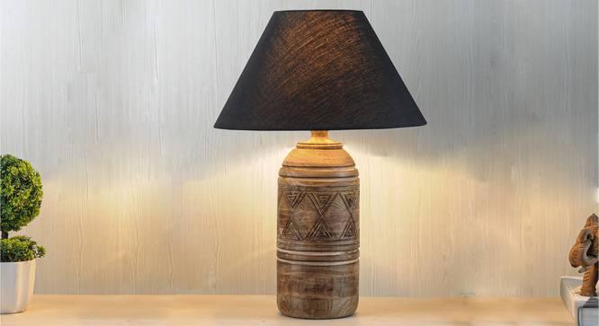 Fellida Table Lamp (Natural, Black Shade Colour, Cotton Shade Material) by Urban Ladder - Design 1 Half View - 303257