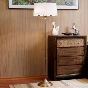 Larson Floor Lamp (Brass, White Shade Colour, Cotton Shade Material) by Urban Ladder - Design 1 -