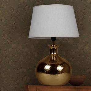 Dale Table Lamp (Brass Base Finish, Cotton Shade Material, White Shade Color) by Urban Ladder - Design 1 Half View - 303331