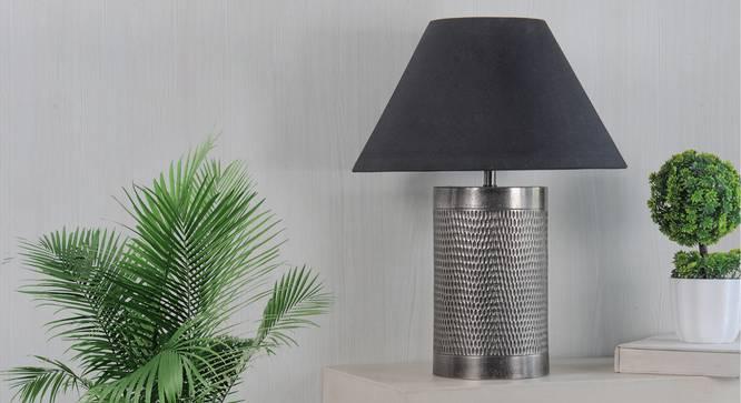 Ohagun Table Lamp (Brown, Black Shade Colour, Cotton Shade Material) by Urban Ladder - Design 1 Semi Side View - 303463