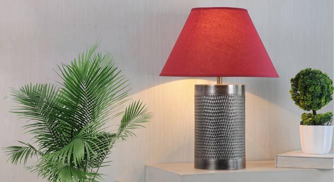 Ohagun Table Lamp (Brown, Cotton Shade Material, Maroon Shade Colour) by Urban Ladder - Design 1 Half View - 303468