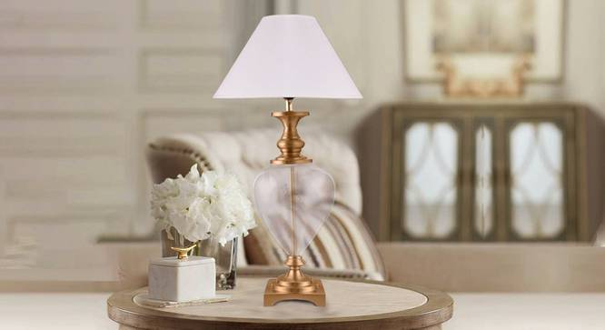 Milo Table Lamp (Brass, White Shade Colour, Cotton Shade Material) by Urban Ladder - Design 1 Semi Side View - 303522