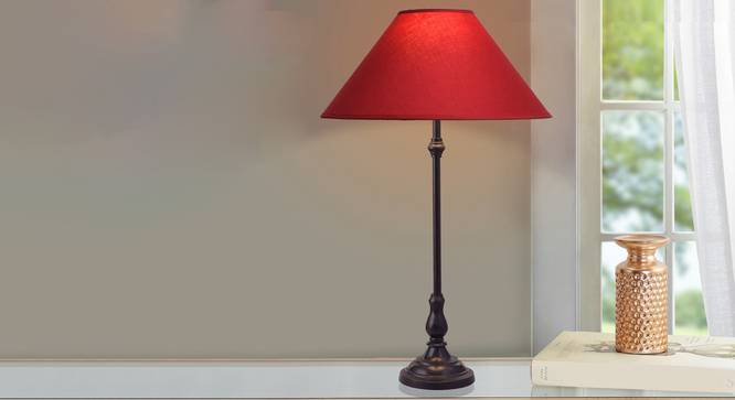 Pedro Table Lamp (Black, Cotton Shade Material, Maroon Shade Colour) by Urban Ladder - Design 1 Half View - 303541