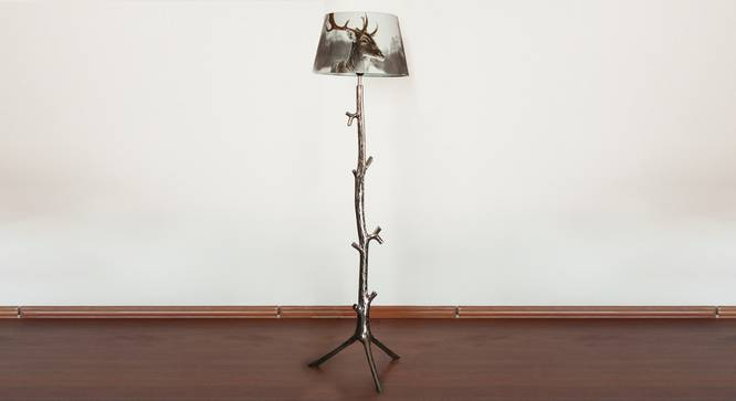 Petra Floor Lamp (White, Printed Shade Finish) by Urban Ladder - Design 1 Semi Side View - 303568